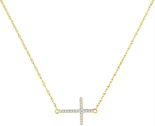 10kt Yellow Gold Womens Round Diamond Sideways Horizontal Cross Pendant Necklace 1/20 Cttw