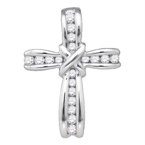 10kt White Gold Womens Round Diamond Bound Christian Cross Pendant 1/5 Cttw
