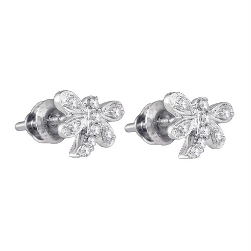 10kt White Gold Womens Round Diamond Butterfly Dragonfly Bug Stud Earrings 1/10 Cttw