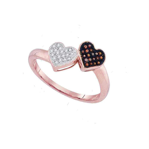 10kt Rose Gold Womens Round Red Color Enhanced Diamond Heart Love Ring 1/10 Cttw - 93267-10