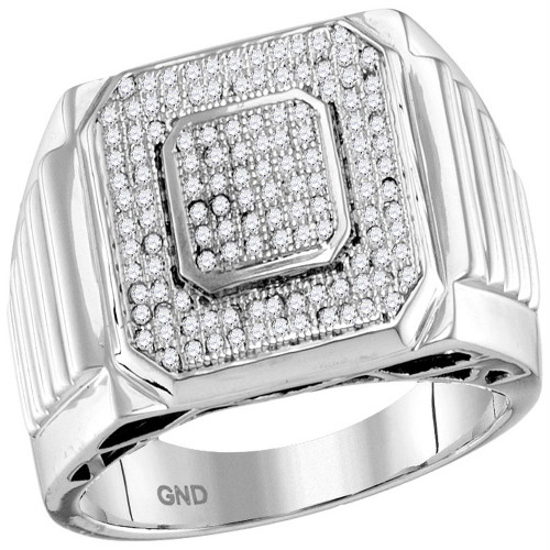 10kt White Gold Mens Round Pave-set Diamond Square Cluster Ring 1/3 Cttw - 55921-8.5