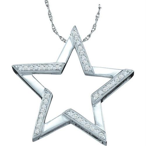 10kt White Gold Womens Round Diamond Star Outline Pendant 1/10 Cttw