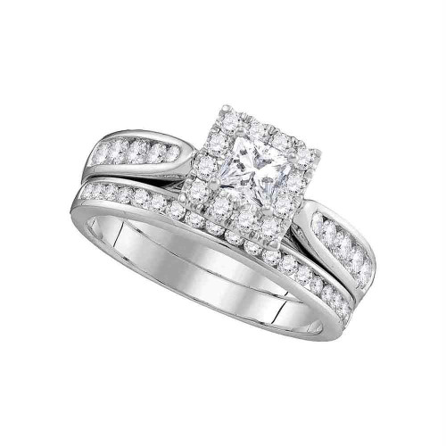 14kt White Gold Womens Princess Diamond Bridal Wedding Engagement Ring Band Set 1.00 Cttw - 106303-5