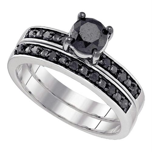 10kt White Gold Womens Round Black Color Enhanced Diamond Bridal Wedding Engagement Ring Band Set 1.00 Cttw