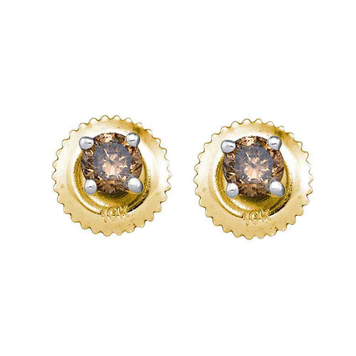10kt Yellow Gold Womens Round Cognac-brown Color Enhanced Diamond Solitaire Screwback Earrings 1.00 Cttw