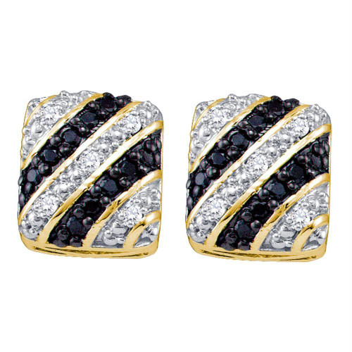 10k Yellow Gold Black Color Enhanced Diamond Striped Square Womens Cluster Stud Earrings 1/4 Cttw