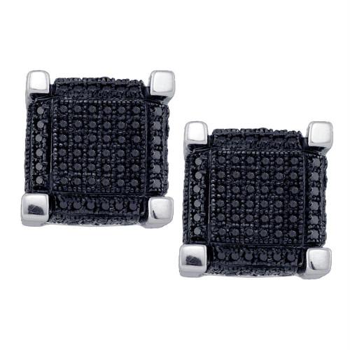 10kt White Gold Mens Round Black Color Enhanced Diamond 3D Square Cube Cluster Earrings 1-1/8 Cttw