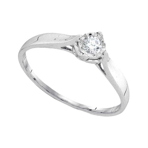 10kt White Gold Womens Round Diamond Solitaire Promise Bridal Ring 1/12 Cttw - 94034-10.5