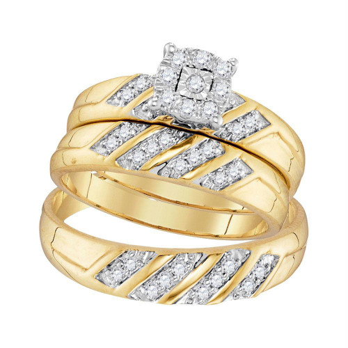10kt Yellow Gold His & Hers Round Diamond Cluster Matching Bridal Wedding Ring Band Set 1/3 Cttw - 96732-10