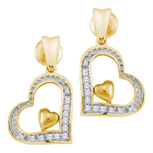 10k Yellow Gold Round Diamond Heart Love Dangle Screwback Stud Earrings 1/10 Cttw