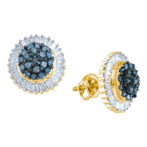 10kt Yellow Gold Womens Round Blue Color Enhanced Diamond Cluster Earrings 1.00 Cttw