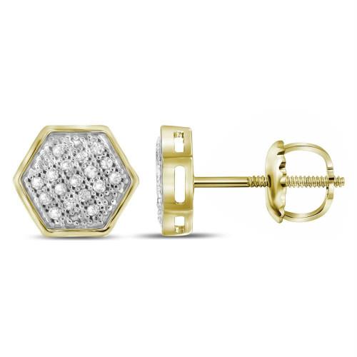 10kt Yellow Gold Womens Round Diamond Hexagon Cluster Stud Earrings 1/10 Cttw