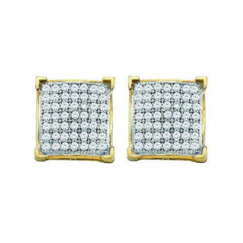 10kt Yellow Gold Womens Round Diamond Square Cluster Screwback Earrings 1/6 Cttw