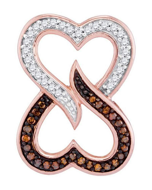 10kt Rose Gold Womens Round Red Color Enhanced Diamond Double Heart Pendant 1/8 Cttw