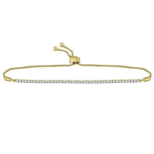 10kt Yellow Gold Womens Round Diamond Bolo Bracelet 1.00 Cttw