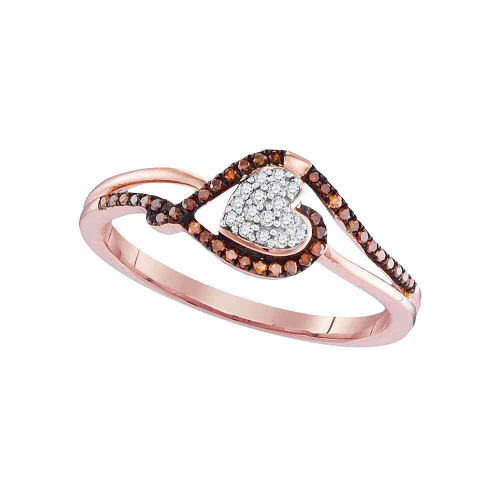 10kt Rose Gold Womens Round Red Color Enhanced Diamond Heart Cluster Ring 1/6 Cttw - 98549