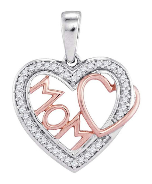 10kt Two-tone Gold Womens Round Diamond Mom Mother Heart Pendant 1/10 Cttw