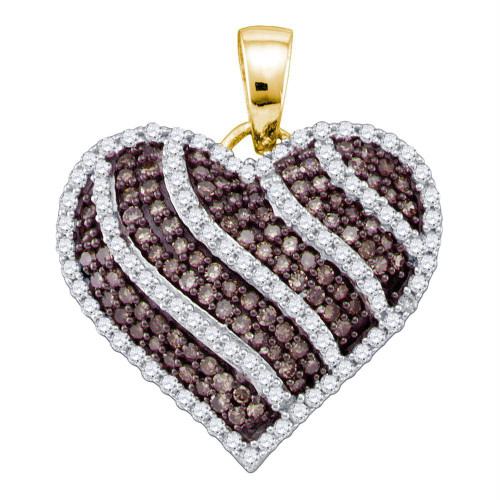 10kt Yellow Gold Womens Round Cognac-brown Color Enhanced Diamond Striped Heart Love Pendant 1.00 Cttw