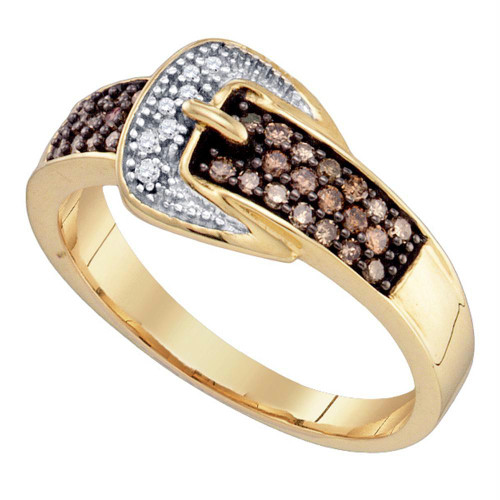 10k Yellow Gold Cognac-brown Color Enhanced Diamond Belt Buckle Band Ring 1/4 Cttw