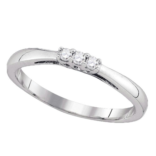 10kt White Gold Womens Round Diamond 3-stone Bridal Wedding Engagement Ring 1/12 Cttw