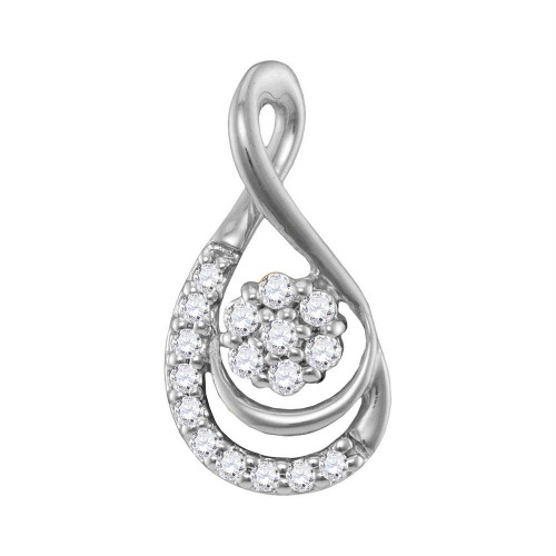 10kt White Gold Womens Round Diamond Flower Cluster Teardrop Pendant 1/10 Cttw