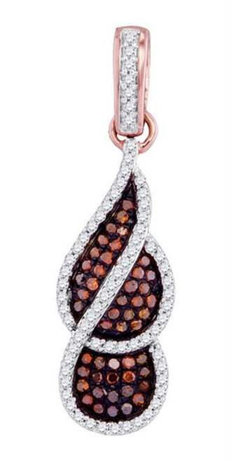 10kt Rose Gold Womens Round Red Color Enhanced Diamond Fashion Pendant 1/3 Cttw - 98494