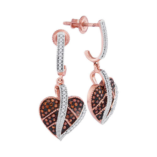 10kt Rose Gold Womens Round Red Color Enhanced Diamond Heart Dangle Screwback Earrings 1/3 Cttw