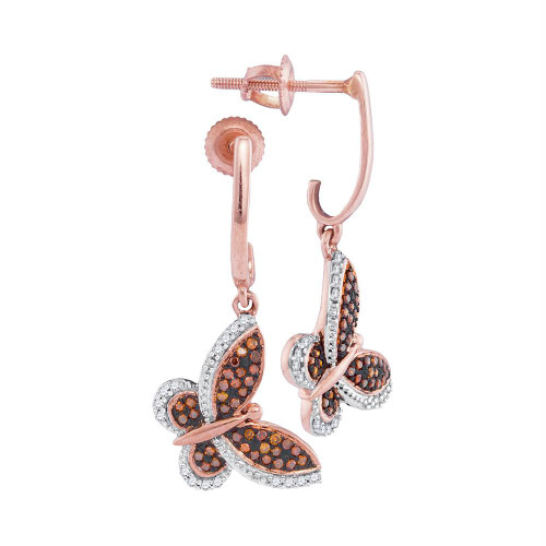 10kt Rose Gold Womens Round Red Color Enhanced Diamond Butterfly Bug Screwback Dangle Earrings 1/4 Cttw