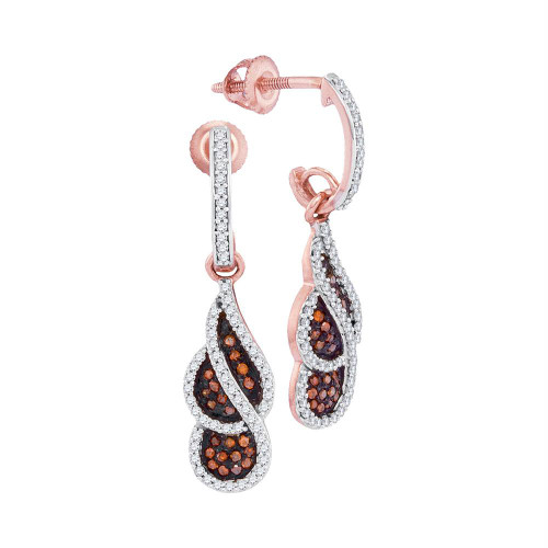 10kt Rose Gold Womens Round Red Color Enhanced Diamond Cluster Dangle Earrings 3/8 Cttw