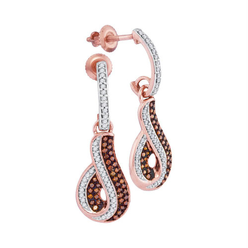 10kt Rose Gold Womens Round Red Color Enhanced Diamond Dangle Earrings 3/8 Cttw