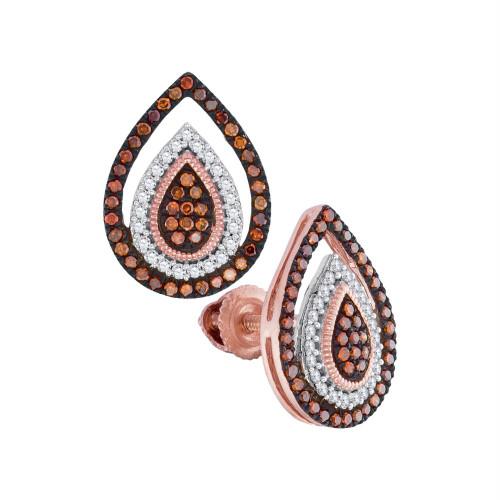 10kt Rose Gold Womens Round Red Color Enhanced Diamond Framed Teardrop Cluster Earrings 1/3 Cttw