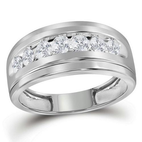 10kt White Gold Mens Round Diamond Wedding Band Ring 1.00 Cttw