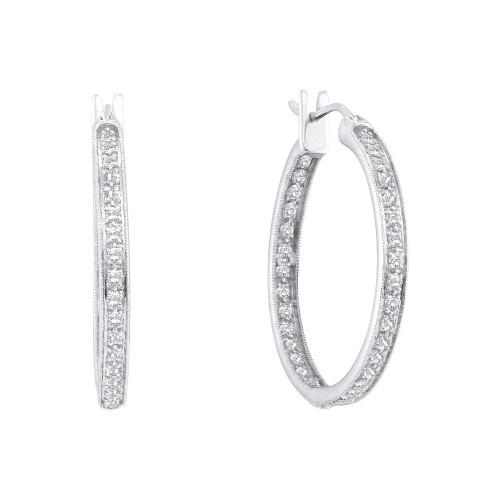 14kt White Gold Womens Round Diamond Single Row Inside Outside Endless Hoop Earrings 1.00 Cttw