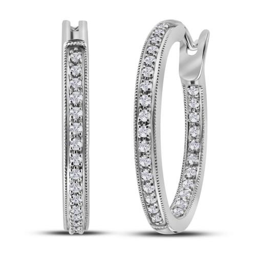 14kt White Gold Womens Round Diamond Single Row Inside Outside Hoop Earrings 1/2 Cttw