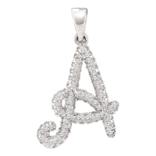 10kt White Gold Womens Round Diamond Letter A Pendant 1/6 Cttw