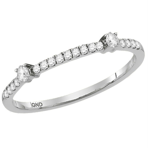 10kt White Gold Womens Round Diamond Single Row Stackable Band Ring 1/6 Cttw - 118202-7