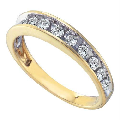 14kt Yellow Gold Womens Round Channel-set Diamond Single Row Wedding Band 1/2 Cttw