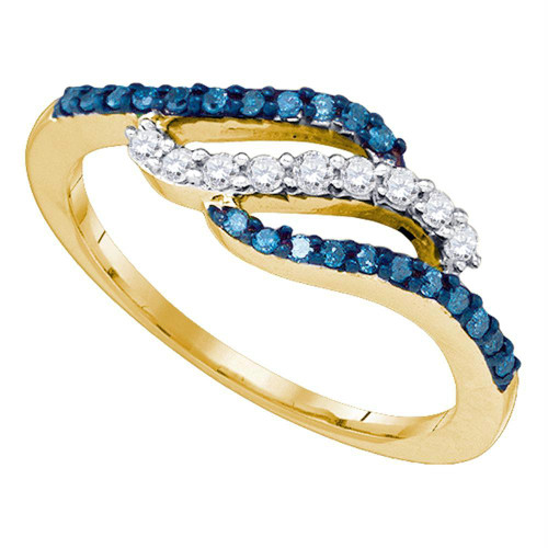 10kt Yellow Gold Womens Round Blue Color Enhanced Diamond Band Ring 1/3 Cttw - 83440-5