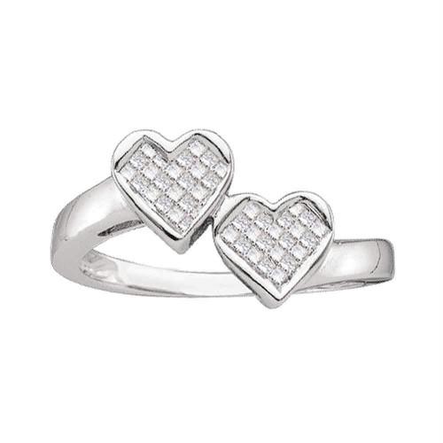14kt White Gold Womens Princess Diamond Double Heart Love Ring 1/4 Cttw