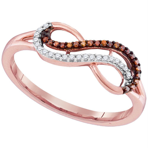 10kt Rose Gold Womens Round Red Color Enhanced Diamond Infinity Ring 1/10 Cttw