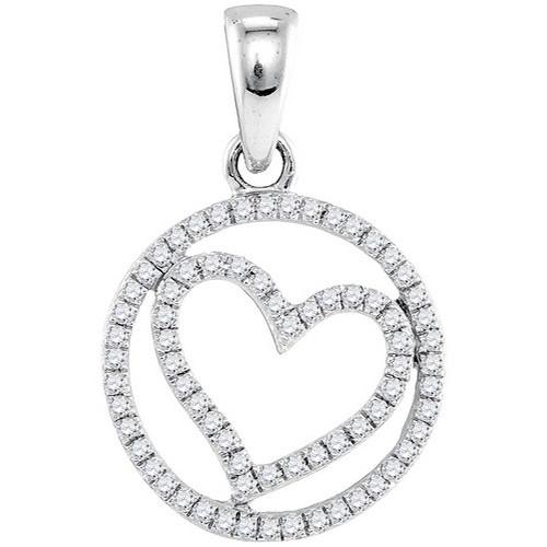10k White Gold Round Diamond Womens Circular Captured Heart Circle Pendant 1/4 Cttw