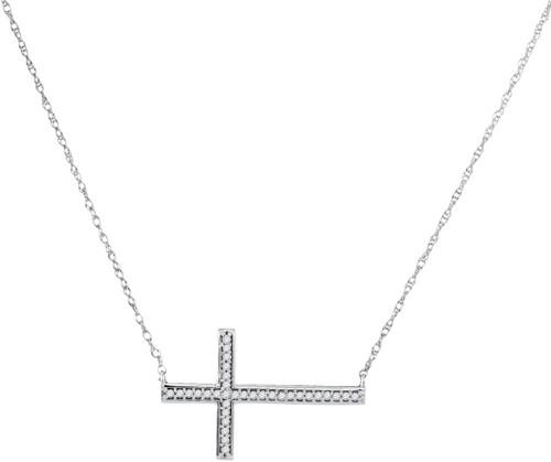 10kt White Gold Womens Round Diamond Horizontal Cross Pendant Necklace 1/10 Cttw - 98630