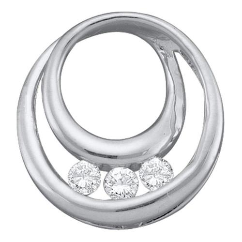 10kt White Gold Womens Round Diamond 3-Stone Circle Pendant 1/5 Cttw