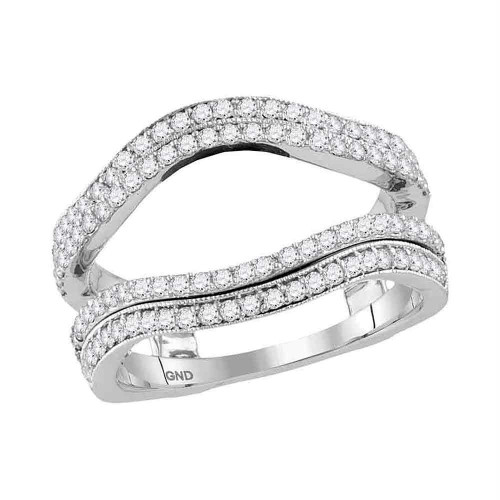 14kt White Gold Womens Round Diamond Wrap Ring Guard Enhancer Wedding Band 3/4 Cttw - 117383-10.5