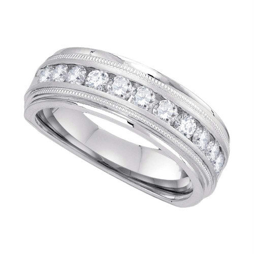 10k White Gold Mens Round Diamond Comfort-fit Wedding Anniversary Band 1/4 Cttw