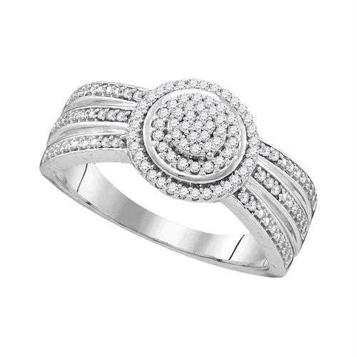 10kt White Gold Womens Round Diamond Cluster Bridal Wedding Engagement Ring 1/5 Cttw - 107853-6.5