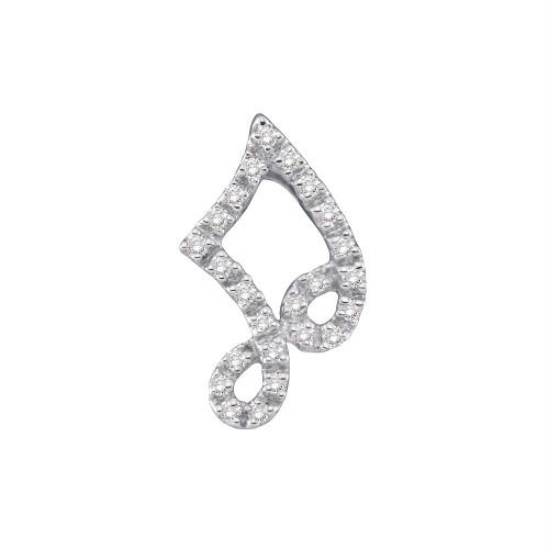 14kt White Gold Womens Round Diamond Small Half-note Music Pendant 1/10 Cttw