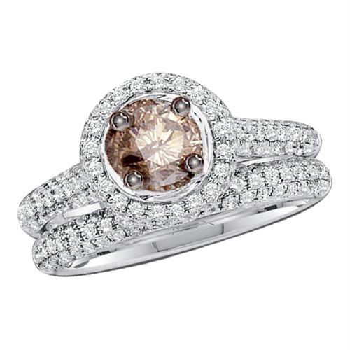 14kt White Gold Womens Round Cognac-brown Color Enhanced Diamond Bridal Wedding Engagement Ring Band Set 1-1/4 Cttw