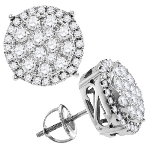14kt White Gold Womens Round Diamond Concentric Circle Cluster Stud Earrings 2.00 Cttw