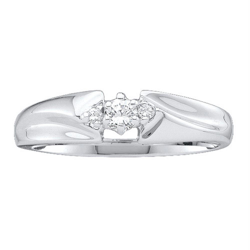 14kt White Gold Womens Round Diamond 3-stone Promise Bridal Ring 1/10 Cttw